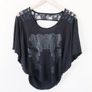 Free People Black Lace Open Back Blouse